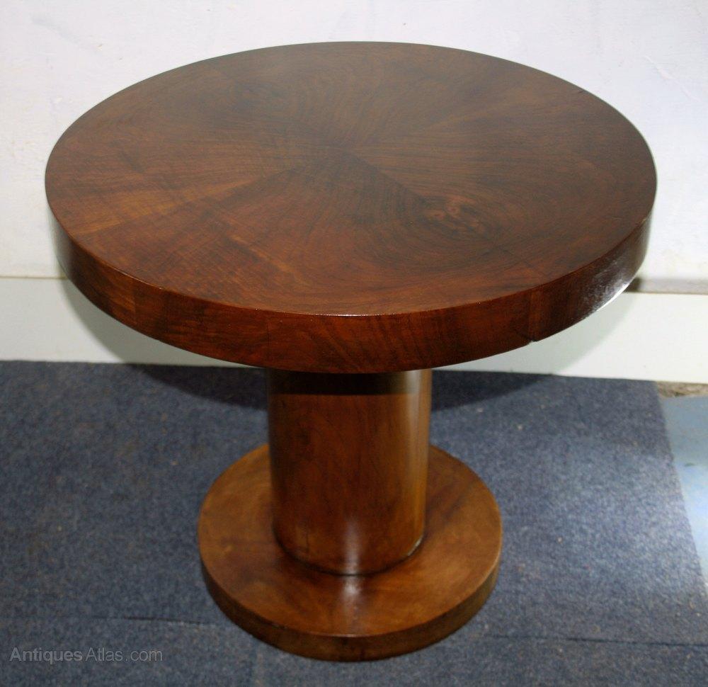 Art Deco Circular Walnut Coffee Table Pedestal Antiques Atlas