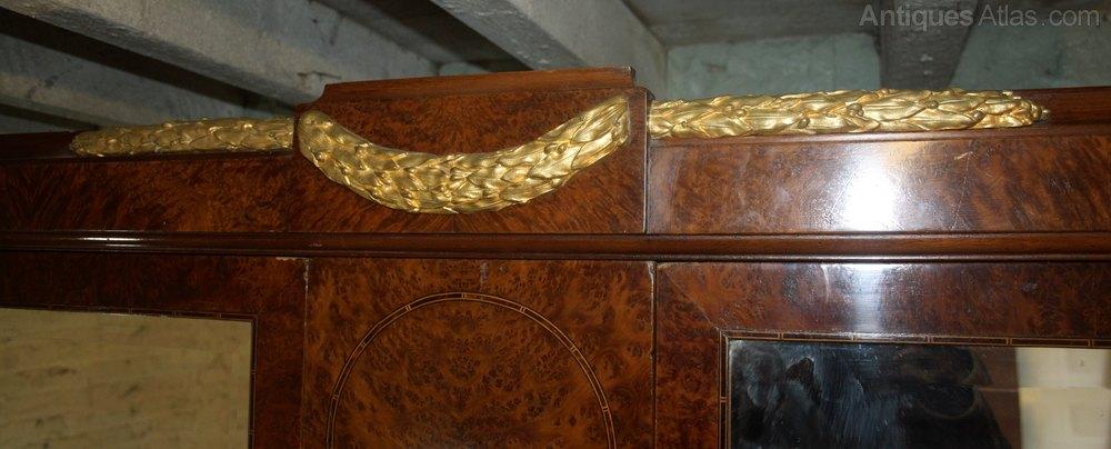 French Gilt Bronze Mahogany Armoire Wardrobe Press
