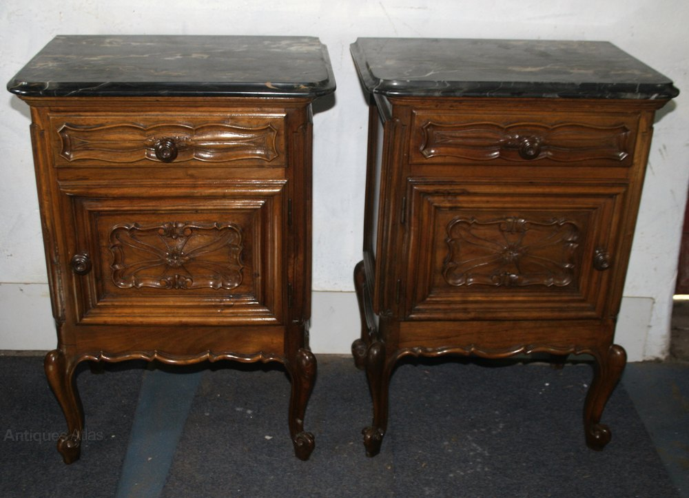 Pair French Marble Bedside Cabinets Night Stands
