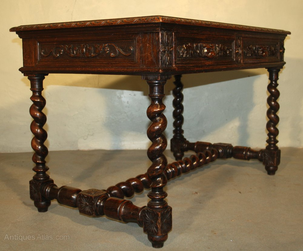 Oak Table Desk ~ Victorian heavily carved oak library table desk antiques
