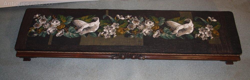 Victorian Walnut Long John Prayer Stool Fender Antiques