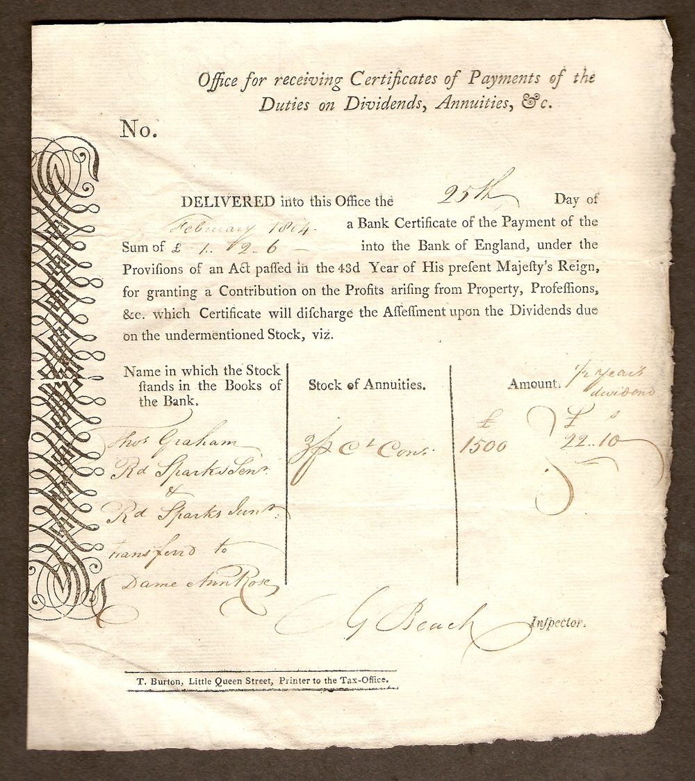 Antiques atlas bank certificate receipt dated 25 february 1804 bank certificate receipt dated 25 february 1804 xflitez Gallery