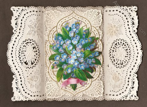 antiques atlas  paperlace birthday card of c1850