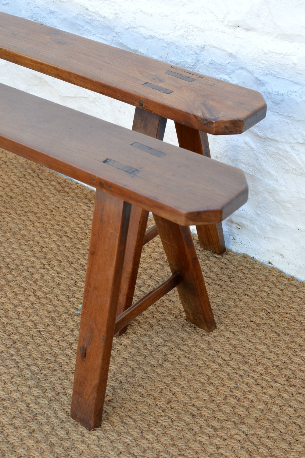 Pair Of Simple Cherry Wood Country Benches Antiques Atlas