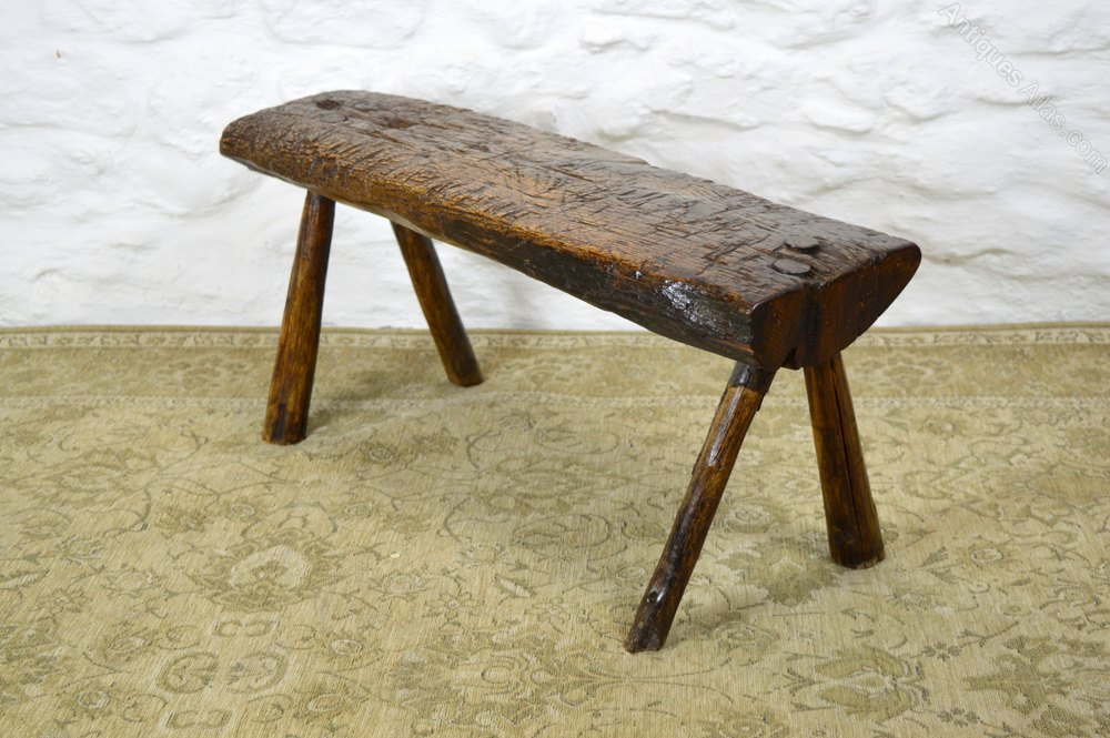 Primitive 18thc Welsh Oak Pig Bench Coffee Table