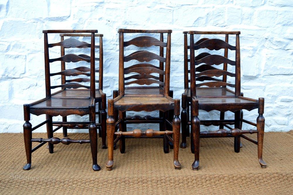 Six Beautiful 18thC Ash Ladder Back Dining Chairs