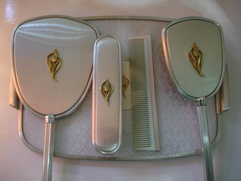 Ladies Art Deco Dressing Table Set With Hand Mirror.