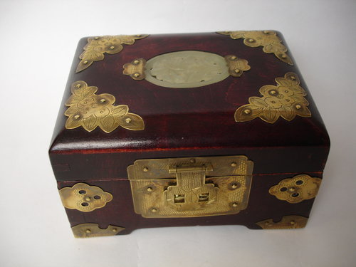 Vintage antique metal jewelry boxes phrase think