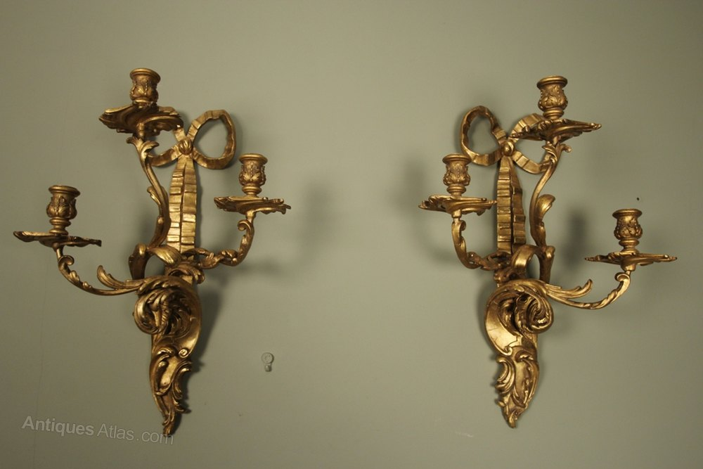 Candle Wall Sconces Antique : Antiques Atlas - A Pair Of Gilt Candle Wall Sconces