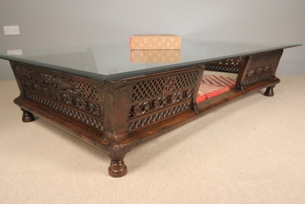 Large colonial glass top coffee table palanquin for Large glass table top