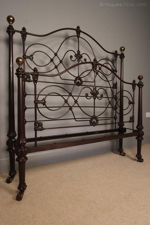 Rare 19th C Cast Iron Bed Original Paint 4ft 6 Antiques