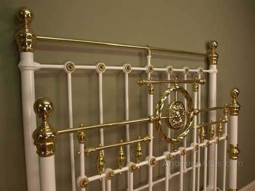 Victorian Painted Iron Amp Brass Bed 4ft6 Antiques Atlas