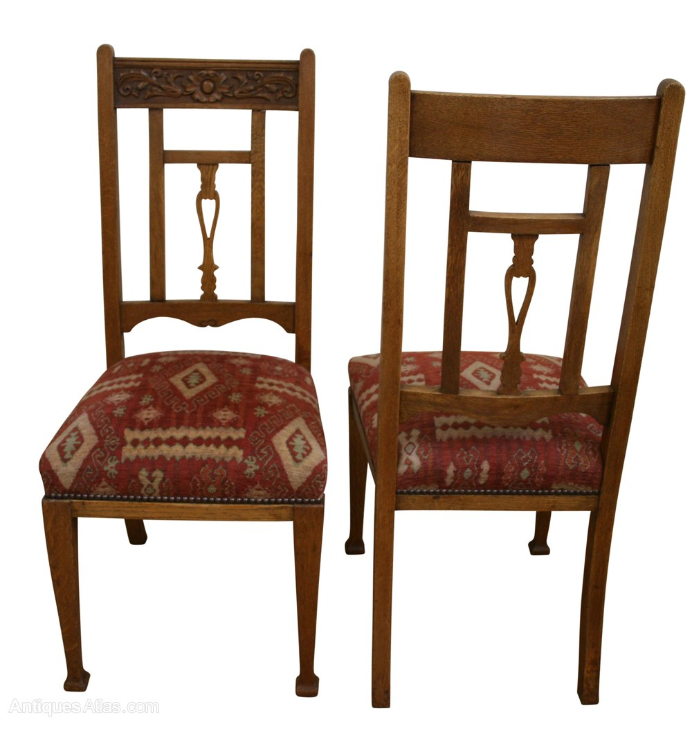 Antique wooden dining chair - A Set Of Six Arts Crafts Oak Dining Chairs
