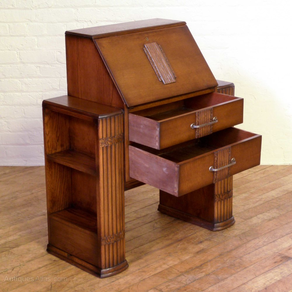 Art deco oak bureau antiques atlas for Bureau antique