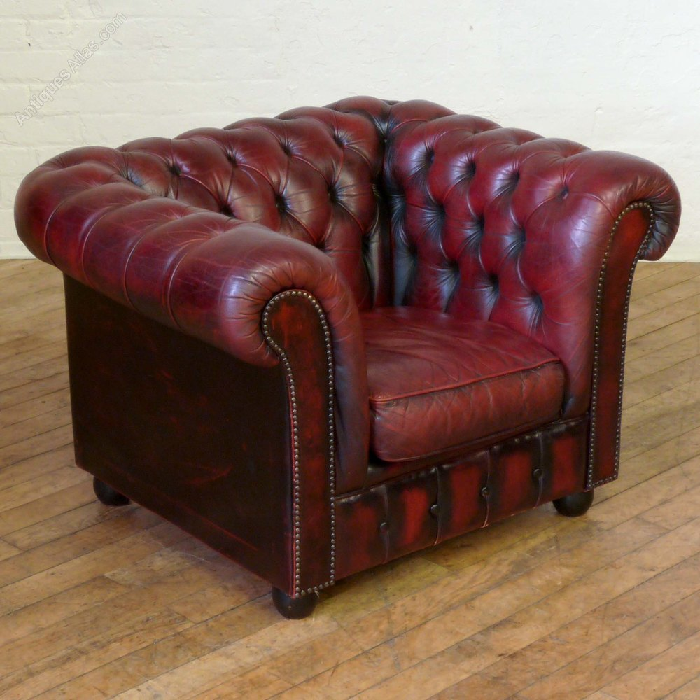 antiques atlas burgundy leather chesterfield club armchair. Black Bedroom Furniture Sets. Home Design Ideas