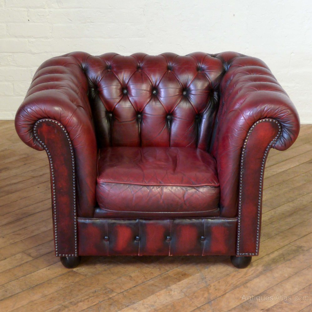 Antiques Atlas - Burgundy Leather Chesterfield Club Armchair