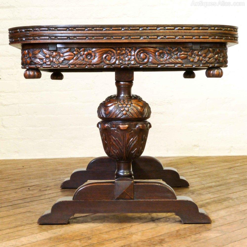 Carved oak drawleaf table antiques atlas