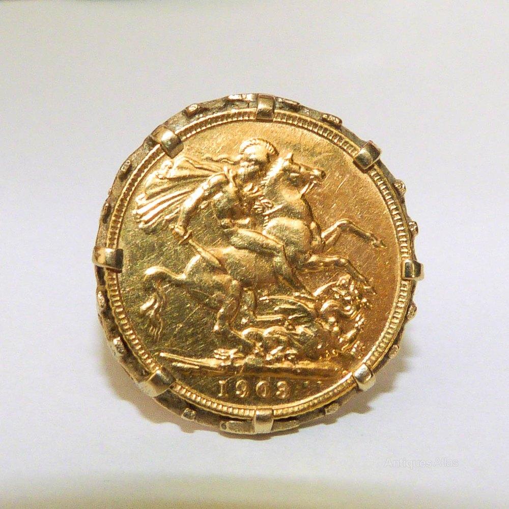 antiques atlas edwardian gold half sovereign ring