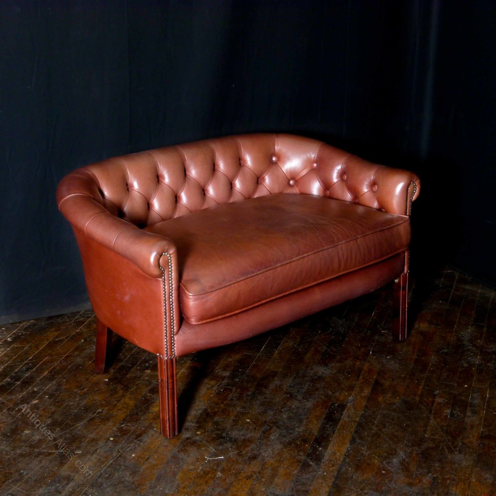 Antiques Atlas Old Red Leather Sofa