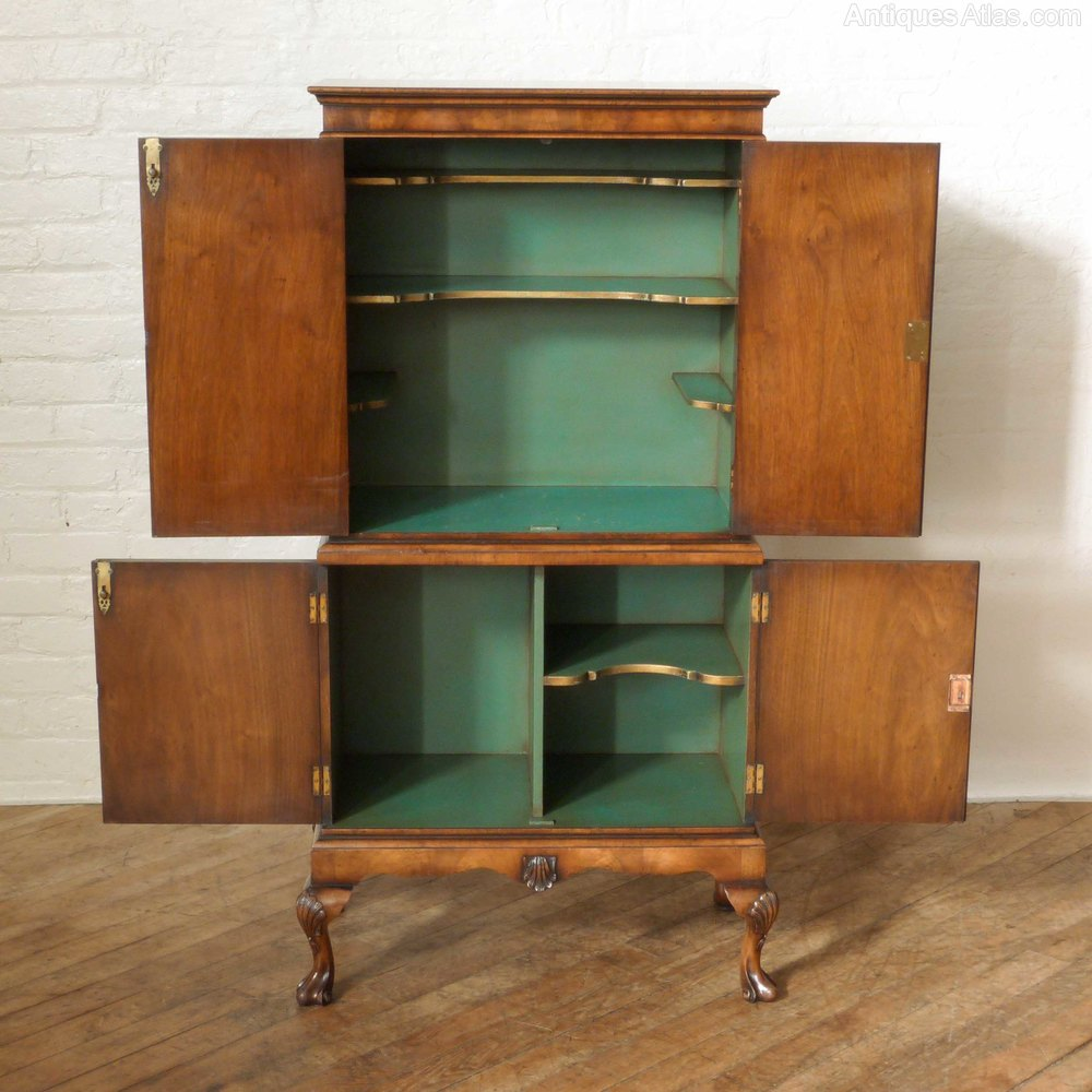Queen anne style walnut cocktail cabinet antiques atlas for Kitchen queen cabinet