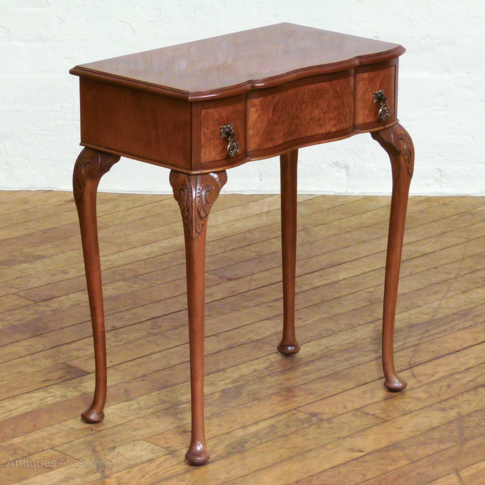Small queen anne style walnut side table antiques atlas for Walnut side table