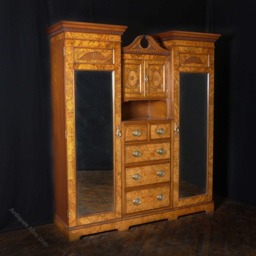 victorian burr walnut princess wardrobe antiques atlas. Black Bedroom Furniture Sets. Home Design Ideas