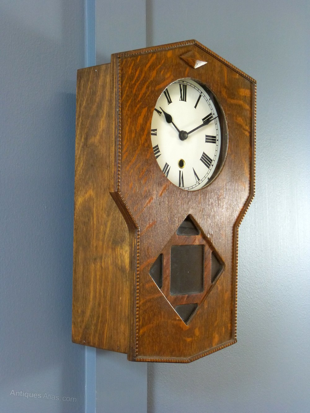 Antiques atlas an oak arts crafts wall clock for Arts and crafts style wall clock