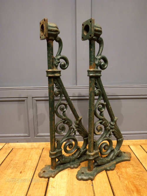 Iron Wall Brackets For Lamps : Antiques Atlas - Cast Iron Lamp Brackets