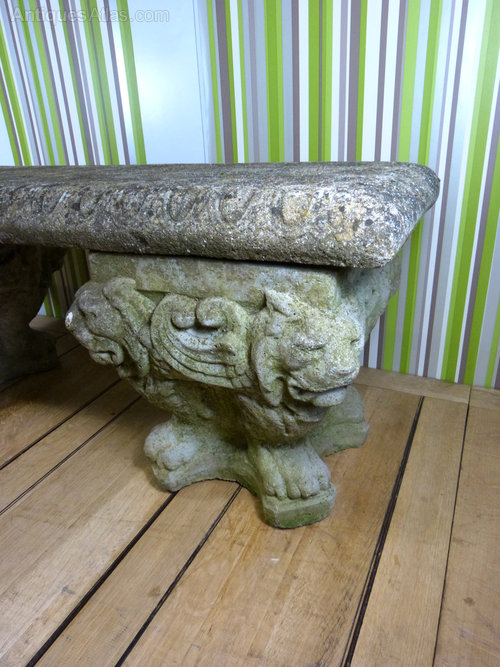 Antiques Atlas Stone Lion S Head Bench