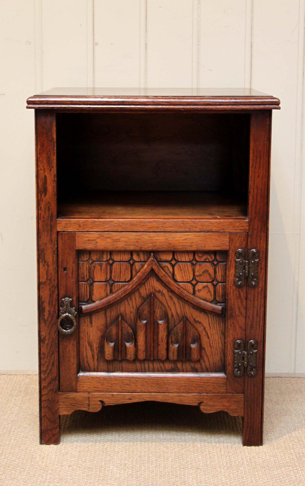 1930s Gothic Oak Bedside Cabinet