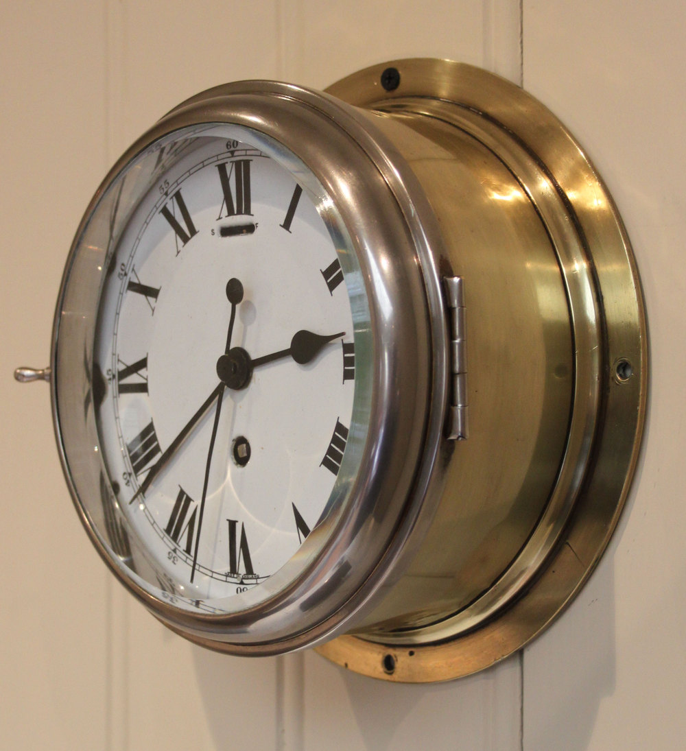 Antiques Atlas Brass And Nickel Ships Clock England C