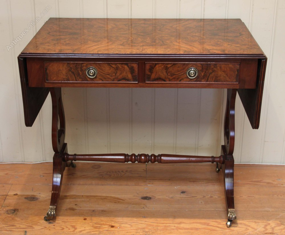 Burr walnut drop leaf sofa table antiques atlas for Sofa table antique