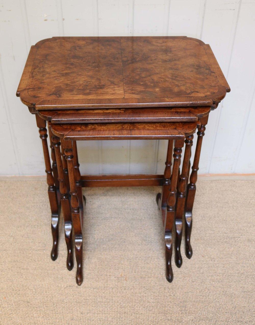 Burr walnut nest of tables antiques atlas
