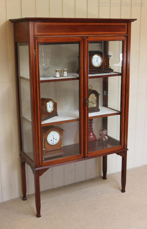 Edwardian inlaid display cabinet antiques atlas for Antique display cabinet