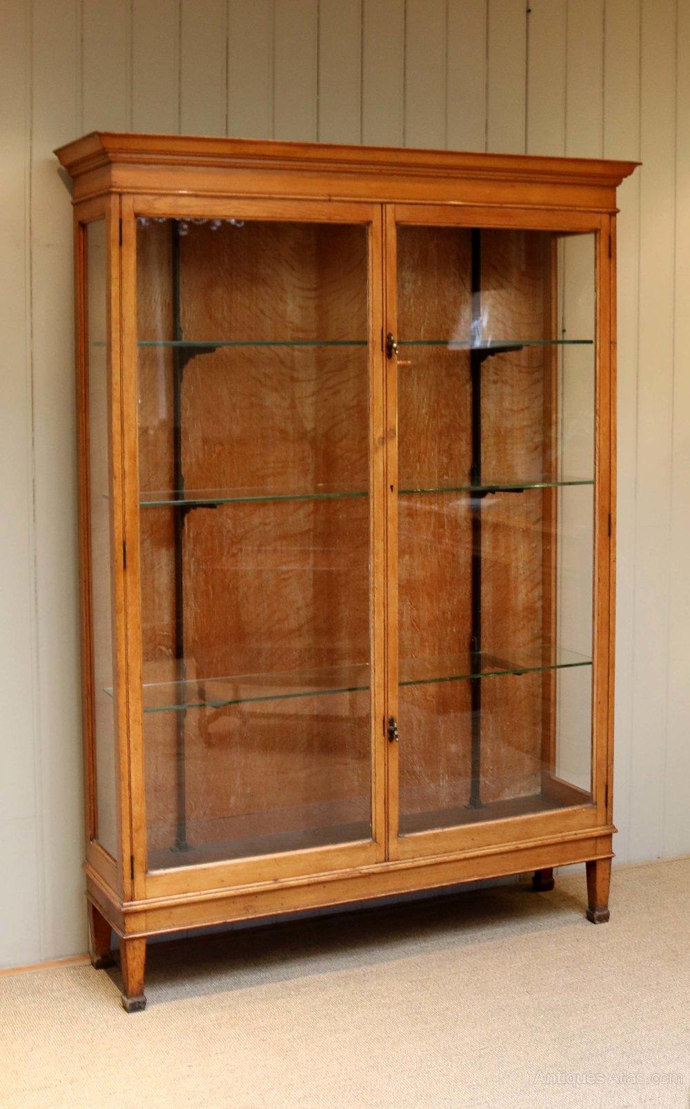 Edwardian Oak Shop Display Cabinet Antiques Atlas