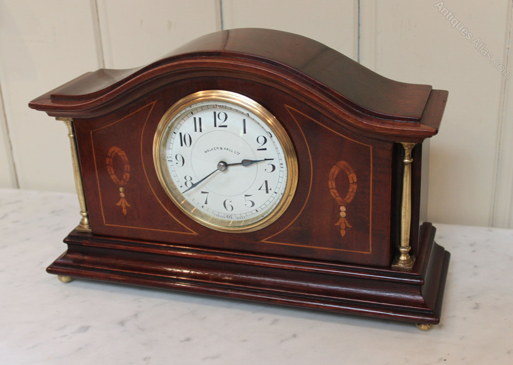 Antiques Atlas - Edwardian Solid Mahogany And Inlay Mantel Clock