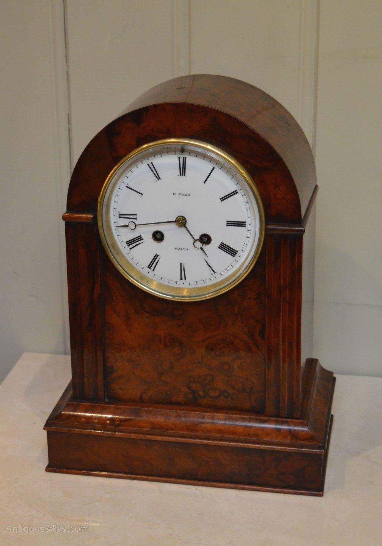 Antique Mantel Clocks >> Antiques Atlas - Fine Bell Striking Burr Walnut Mantel Clock
