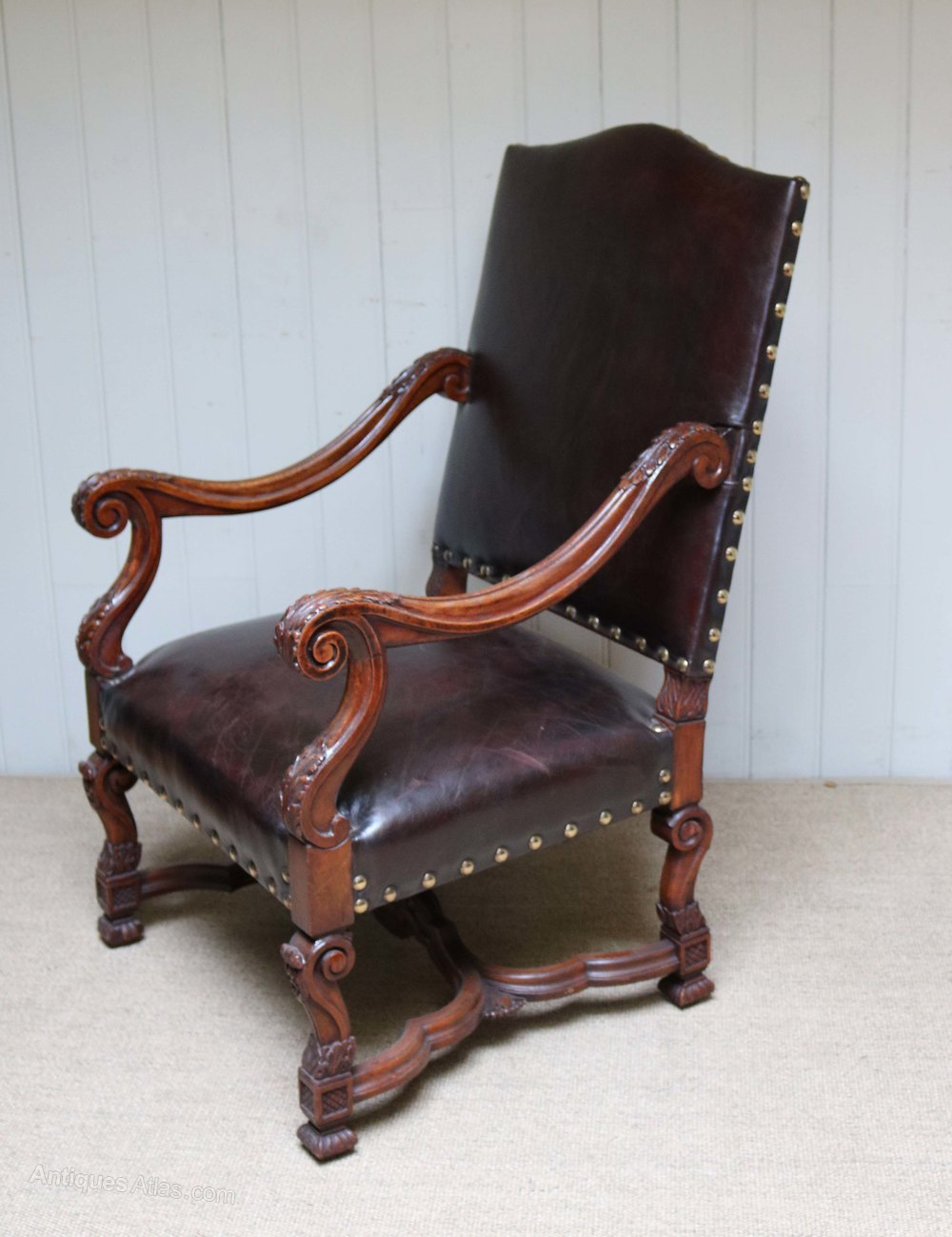 French carved wooden leather chair antiques atlas