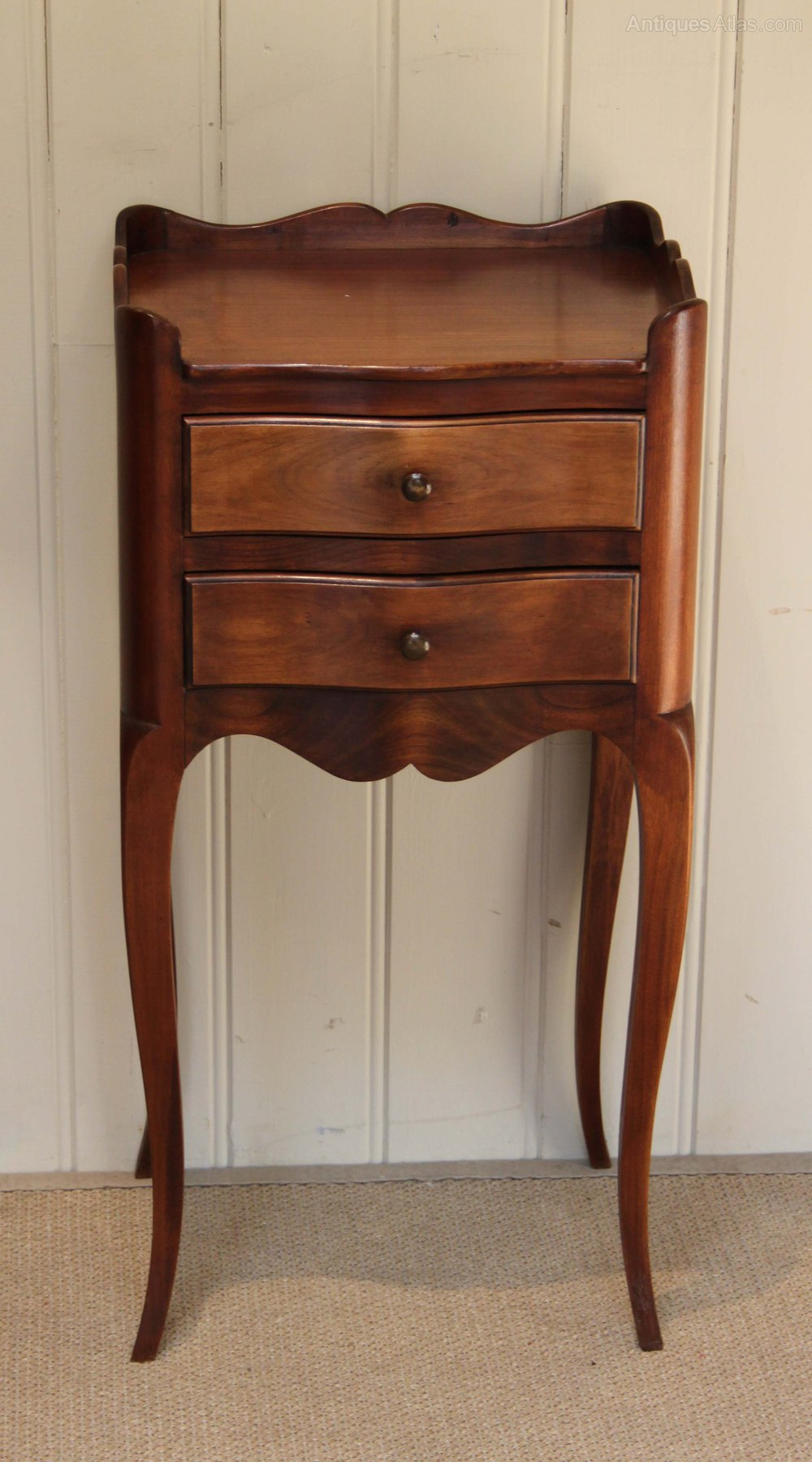 French Cherrywood Two Drawer Bedside Cabinet Antiques Atlas