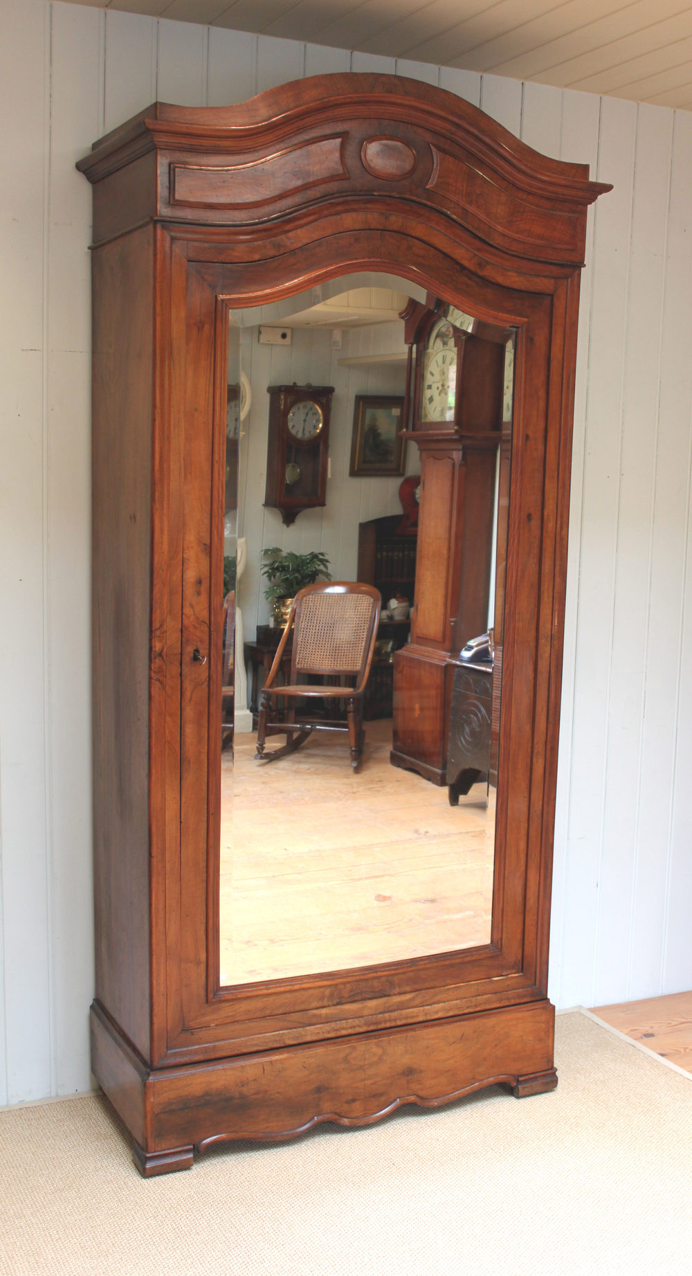 French Figure Walnut Single Mirrored Door Armoire