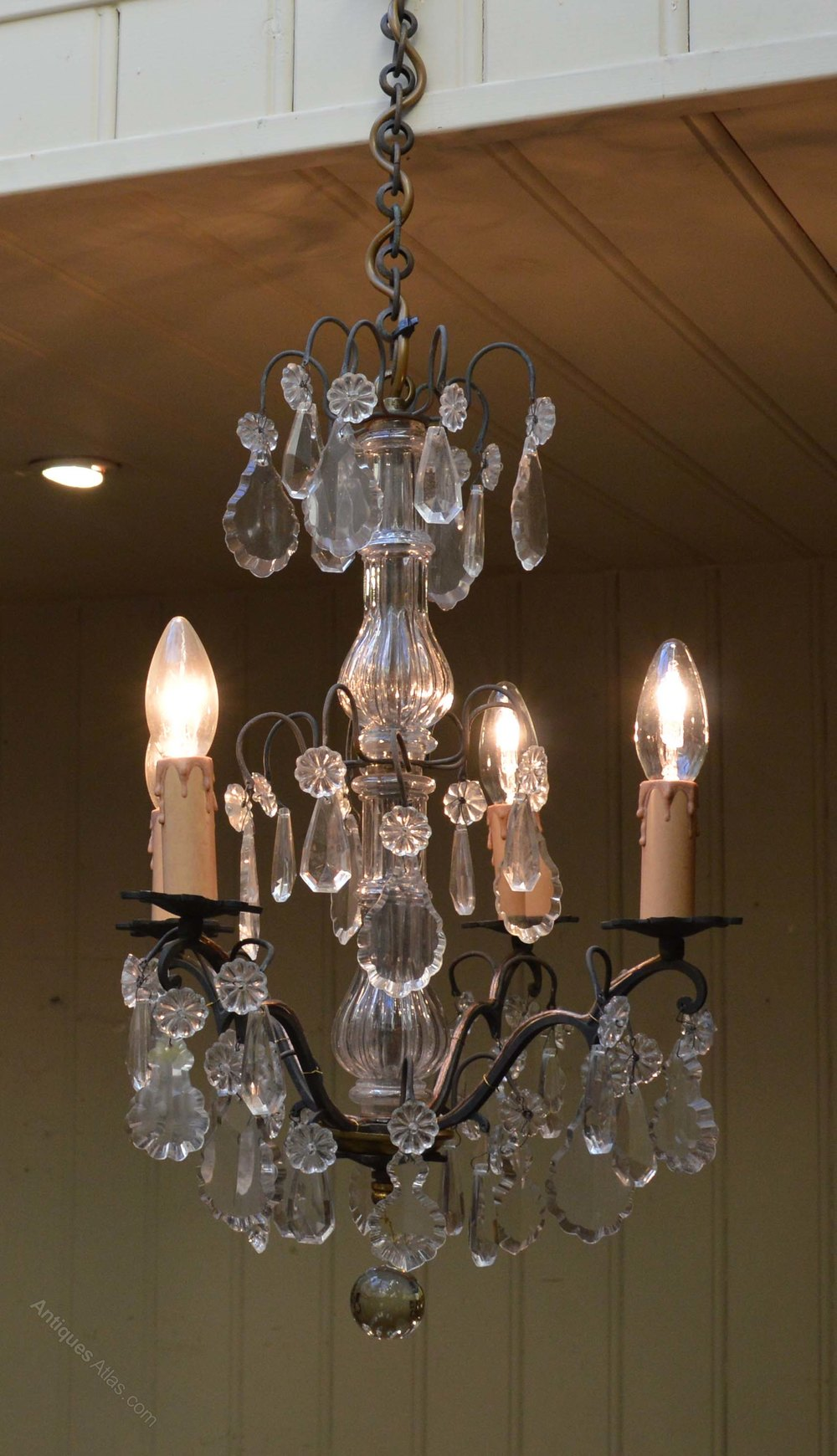 Antiques Atlas French Four Branch Glass Drop Chandelier