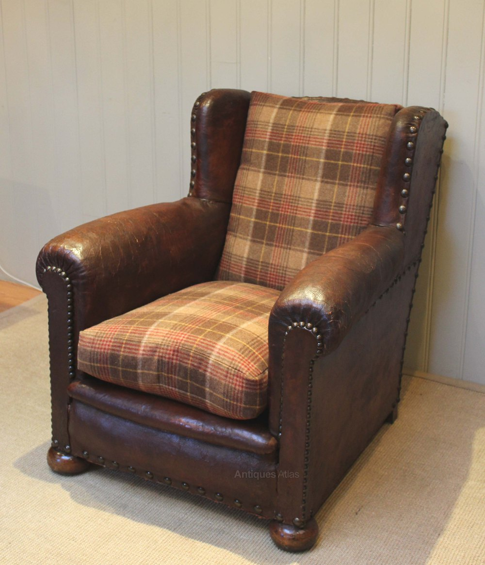 French Leather Armchair - Antiques Atlas