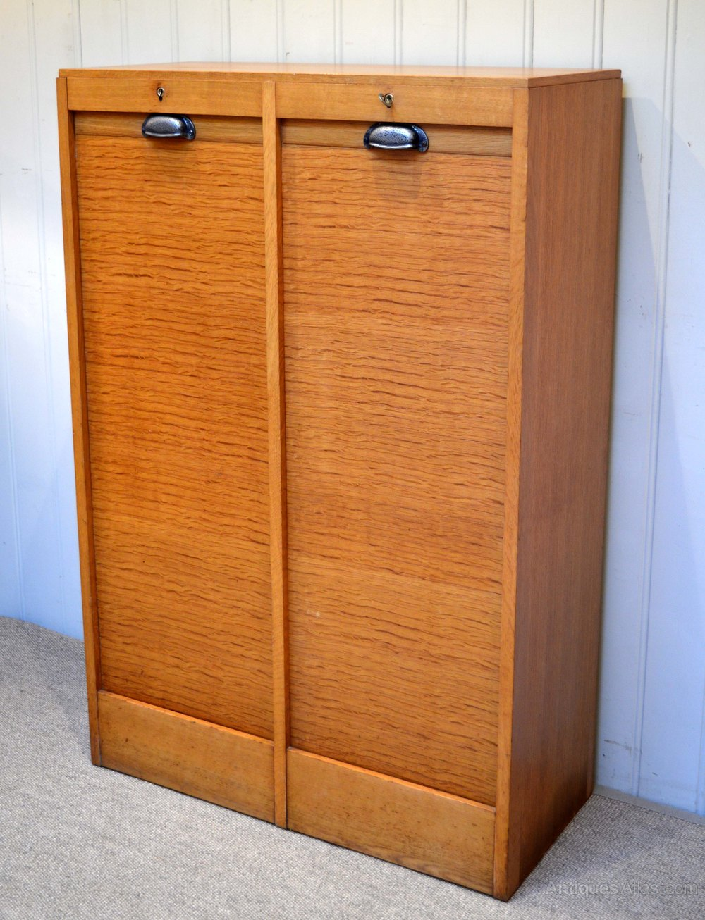 French oak double tambour front filing cabinet antiques for Kitchen cabinets 50cm wide
