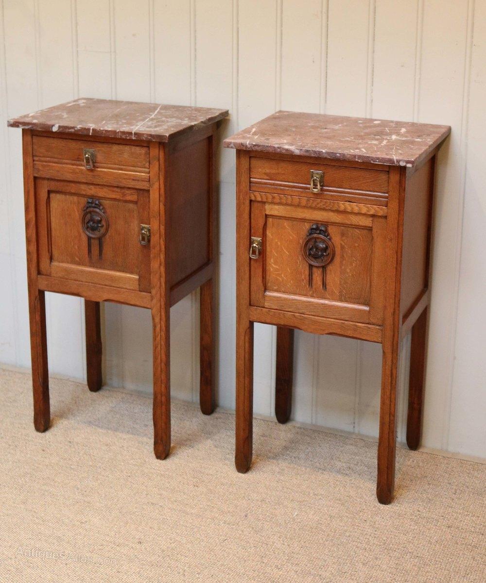 Ideal French Oak Marble Top Bedside Cabinets Antique Bedside Cabinets