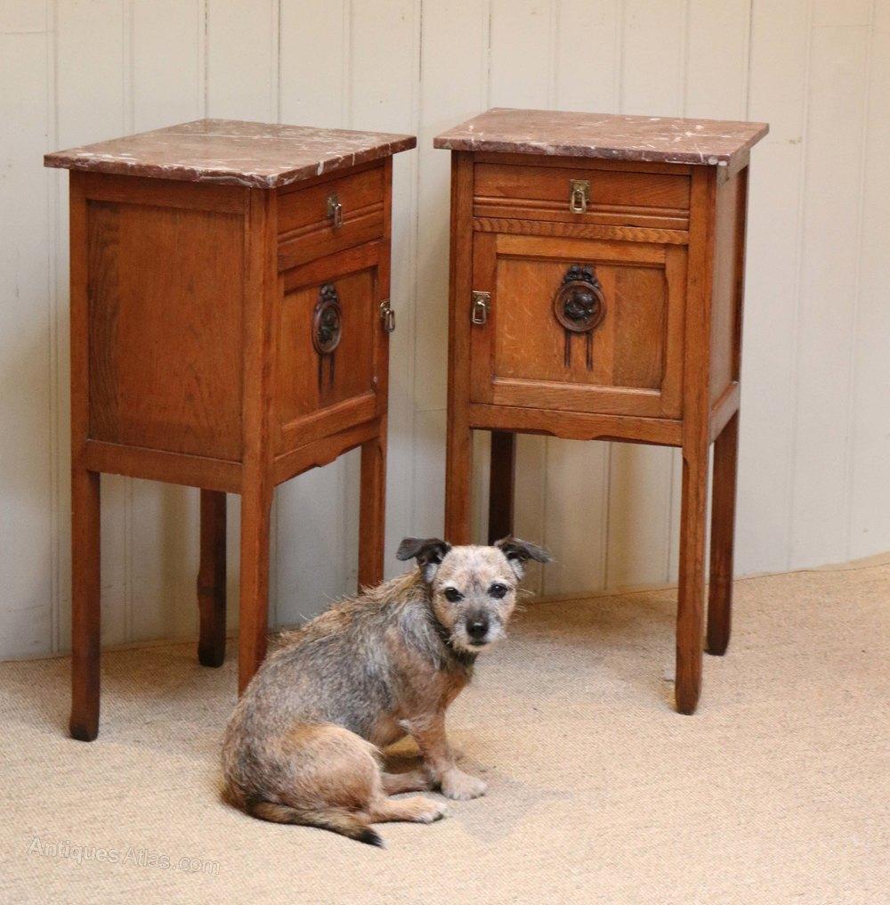 Cool French Oak Marble Top Bedside Cabinets Antique Bedside Cabinets alt alt