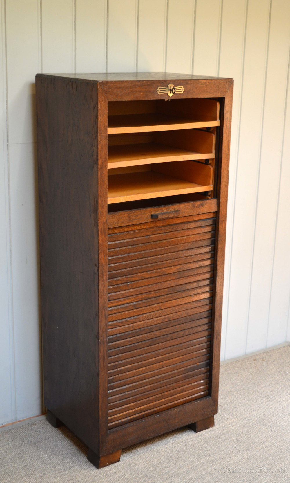 French oak tambour front filing cabinet antiques atlas for Kitchen cabinets 50cm wide