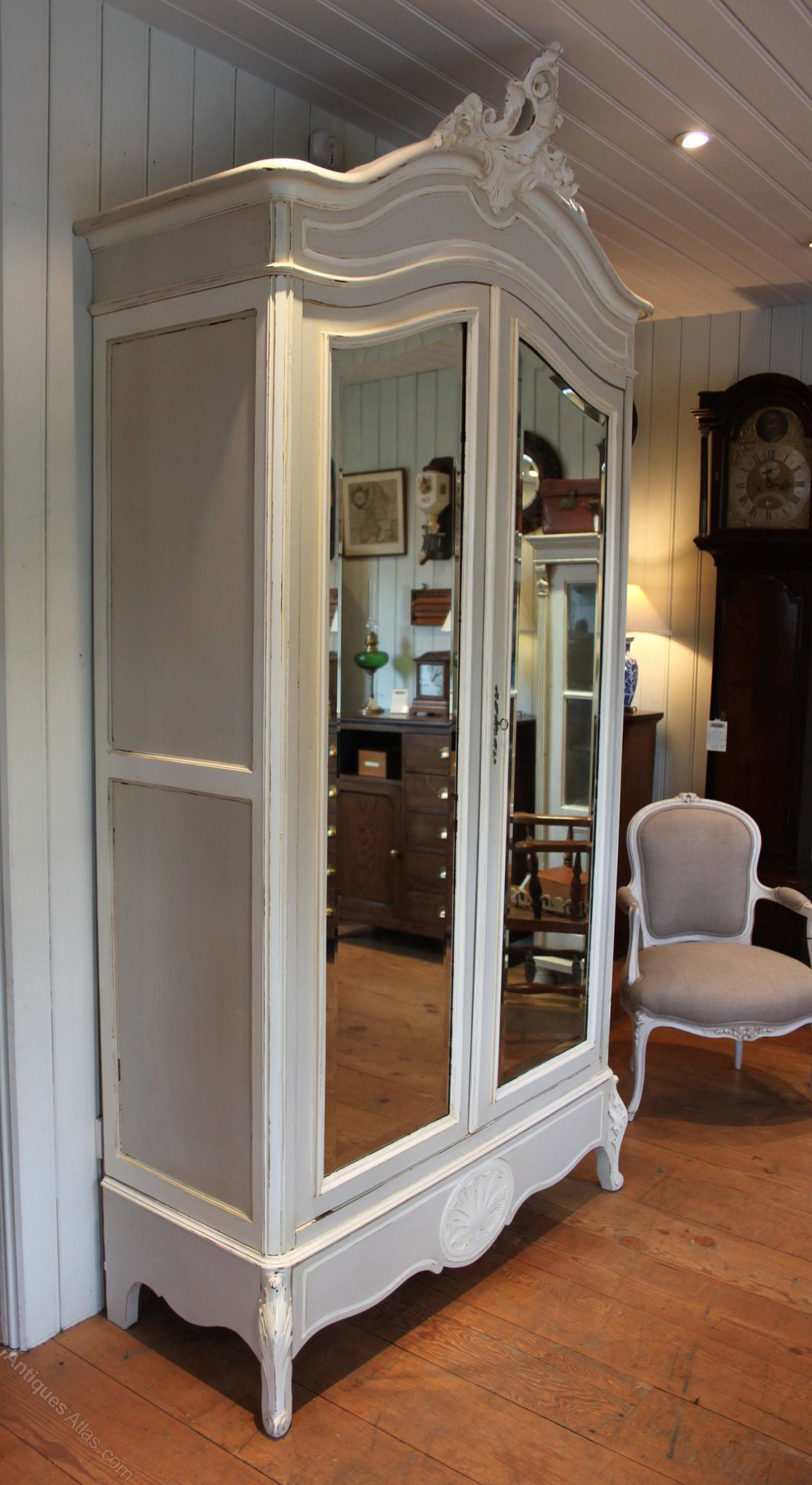 French Painted Mirrored Two Door Armoire - Antiques Atlas