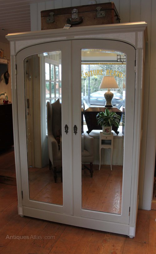 French Painted Two Door Mirrored Wardrobe Antiques Atlas
