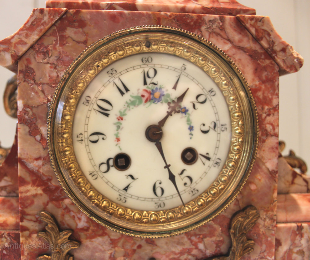 Antiques Atlas - French Rouge Marble Mantel Clock