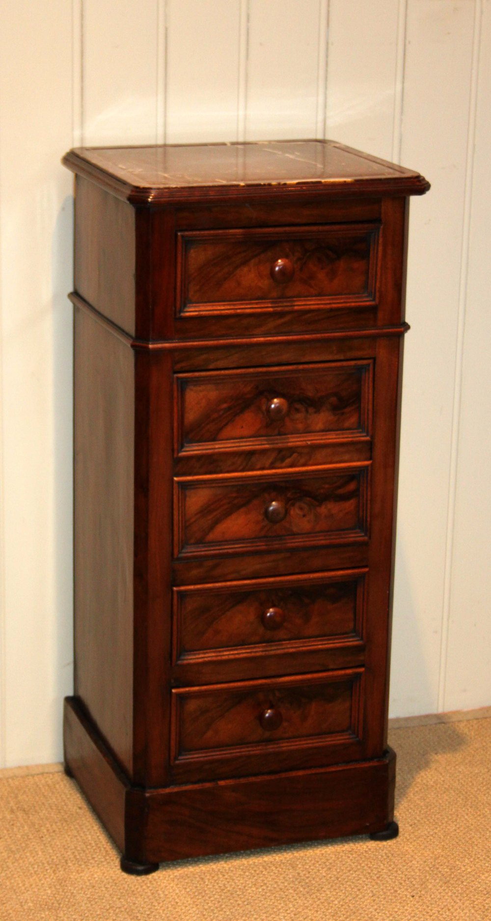 French Walnut Tall Bedside Cabinet Antiques Atlas